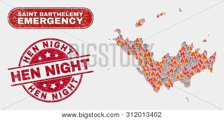 Vector Composition Of Firestorm Saint Barthelemy Map And Red Rounded Textured Hen Night Seal Stamp.