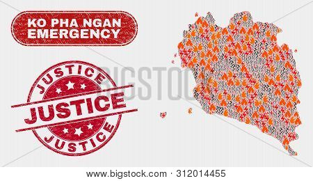 Vector Composition Of Hazard Ko Pha Ngan Map And Red Rounded Textured Justice Seal Stamp. Emergency