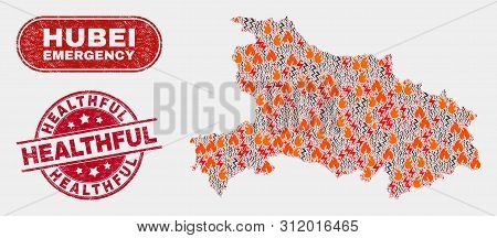 Vector Collage Of Danger Hubei Province Map And Red Round Textured Healthful Seal Stamp. Emergency H
