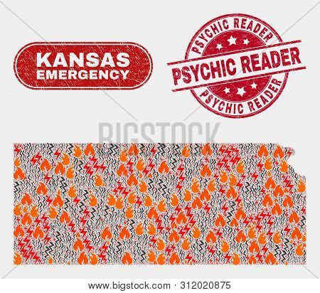 Vector Composition Of Hazard Kansas State Map And Red Round Scratched Psychic Reader Seal. Emergency