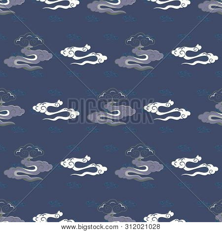 Vector Illustration Of Stylized, Abstract, Indigo, Blue, Grey And White Clouds Resembling Dragon Tai