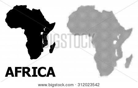 Halftone And Solid Map Of Africa Composition Illustration. Vector Map Of Africa Composition Of X-cro