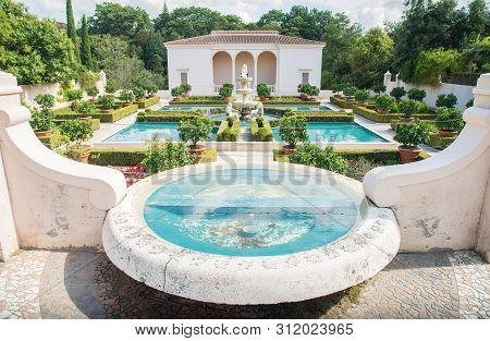 Hamilton, New Zealand - December 08 2017 : The Beautiful Italian Renaissance Garden View From The Up