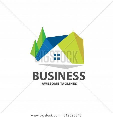 Creative Colorful Geometric House Logo, Property And Construction Logo Design Vector, Colorful Homes