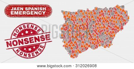 Vector Composition Of Disaster Jaen Spanish Province Map And Red Rounded Scratched Nonsense Seal Sta