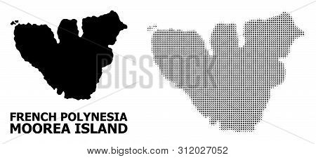 Halftone And Solid Map Of Moorea Island Collage Illustration. Vector Map Of Moorea Island Combinatio