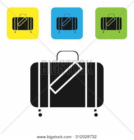 Black Suitcase For Travel And Stickers Icon Isolated On White Background. Traveling Baggage Sign. Tr