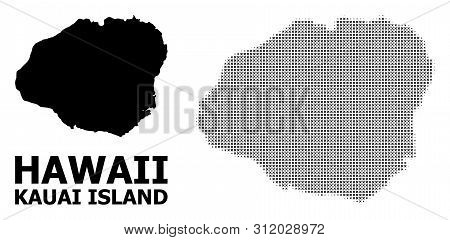 Halftone And Solid Map Of Kauai Island Composition Illustration. Vector Map Of Kauai Island Composit