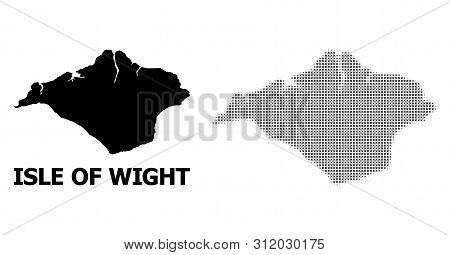 Halftone And Solid Map Of Isle Of Wight Composition Illustration. Vector Map Of Isle Of Wight Compos