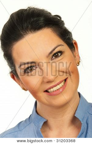 Close Up Of Smiling Woman Face