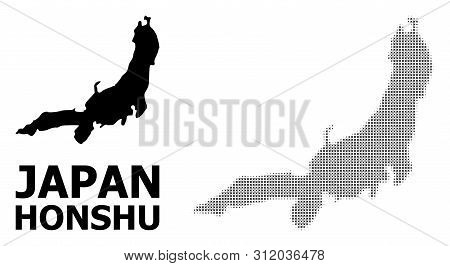 Halftone And Solid Map Of Honshu Island Composition Illustration. Vector Map Of Honshu Island Compos
