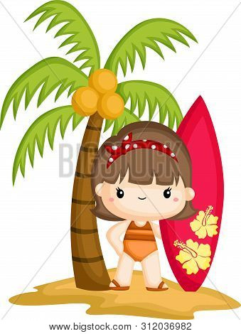 A Girl Holding A Surfing Board While Standing Below A Coconut Tree