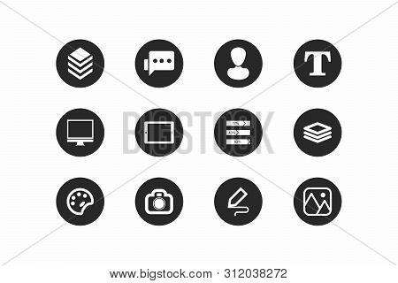 Set Of Universal Icons. Modern And Simple Icons For Different Tasks. Black Circle With A Simple Whit