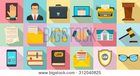 Lawyer Icons Set. Flat Set Of Lawyer Vector Icons For Web Design