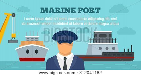 Marine Port Concept Banner. Flat Illustration Of Marine Port Vector Concept Banner For Web Design