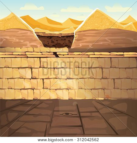 Ancient Lost Looted Tomb Or Abandoned Temple Interior, Underground Cartoon Vector Illustration. Arch