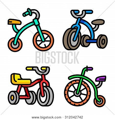 Tricycle Icons Set. Outline Set Of Tricycle Vector Icons For Web Design Isolated On White Background