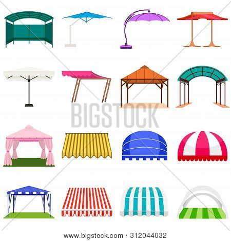 Canopy Icons Set. Flat Set Of Canopy Vector Icons For Web Design