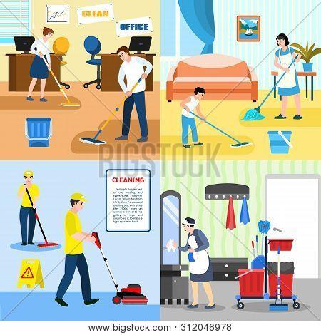 Mop Banner Set. Flat Illustration Of Mop Vector Banner Set For Web Design