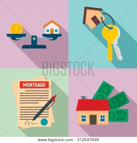 Mortgage Icons Set. Flat Set Of Mortgage Vector Icons For Web Design