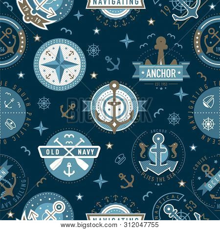 Nautical Logo Template Pattern. Sailing Object, Icon Vector Background. Marine Label, Sea Badge, Anc