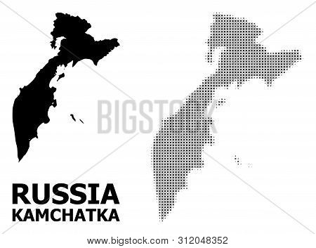 Halftone And Solid Map Of Kamchatka Peninsula Composition Illustration. Vector Map Of Kamchatka Peni