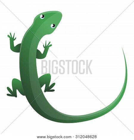 Green Top View Lizard Icon. Cartoon Of Green Top View Lizard Vector Icon For Web Design Isolated On