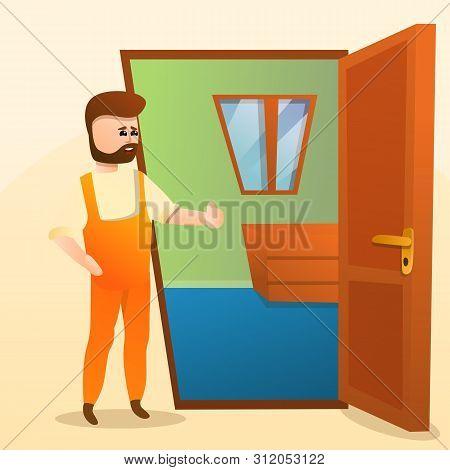 Home Locksmith Concept Background. Cartoon Illustration Of Home Locksmith Vector Concept Background