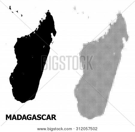 Halftone And Solid Map Of Madagascar Island Composition Illustration. Vector Map Of Madagascar Islan