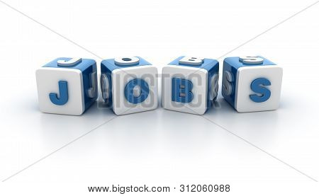 Buzzword Tile Blocks With Jobs Word - High Quality 3d Rendering