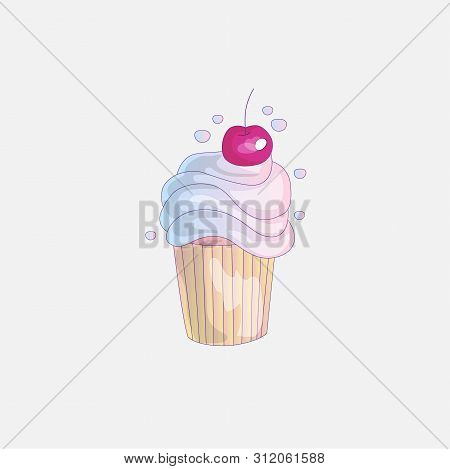 Cute Cartoon Little Princess Cupcake Illustration With Cherry. Cream Pink, Cherry Cake For Little Pr