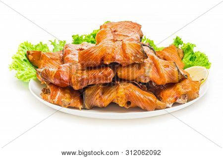 The Salmon Backrests Cold Smoked , Closeup Cuisine
