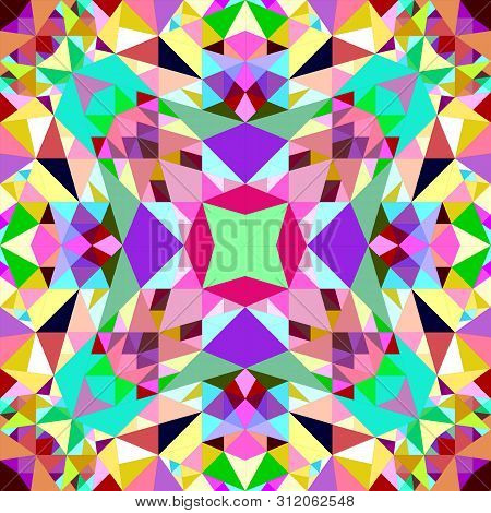 Colorful Repeating Kaleidoscope Pattern Background Design - Abstract Ethnic Vector Wallpaper Graphic