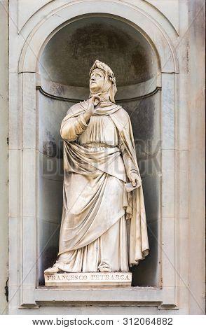 Florence, Italy - May 10, 2019: Statue Of A Francesco Petrarca On Piazzale Degli Uffizi