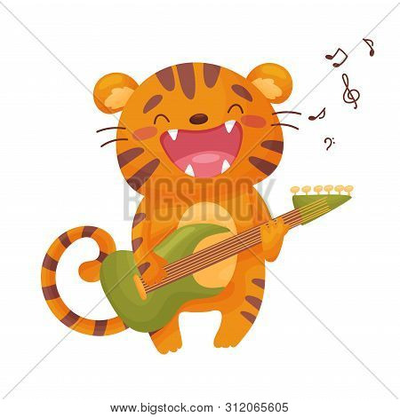 Cute Tig With An Electric Guitar. Vector Illustration On White Background.