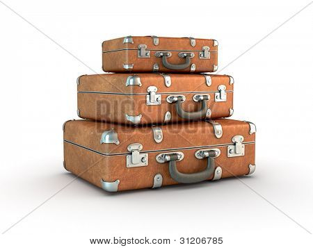 Stack of old suitcases. Clipping path included. Computer generated image.