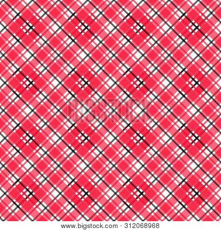 Vector Illustration Of Colorful Tartan, Plaid Fabric. Scotland Kilt Textile, Red, Black.