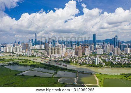 Shenzhen, China - Jun 6, 2019: Aerial View Of Shenzhen Cbd In China. It Is The Leading Global Techno