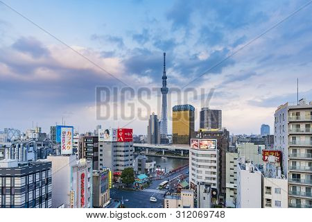 Tokyo, Japan - Mar 16, 2019: Video Of Tokyo Skytree At Sunset. It Is The Tallest Structure In Japan