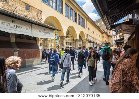 Florence, Italy - May 12, 2019: Old Bridge Ponte Vecchio In Florence