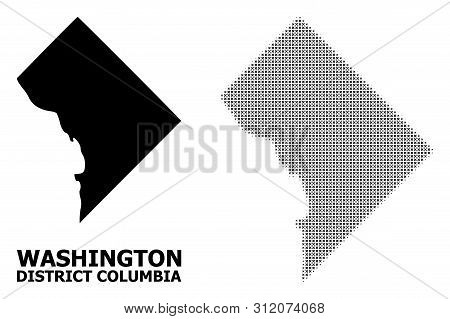 Halftone And Solid Map Of District Columbia Composition Illustration. Vector Map Of District Columbi