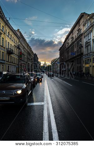 Evening Traffic On Nevsky Prospect, The White Night In St. Petersburg