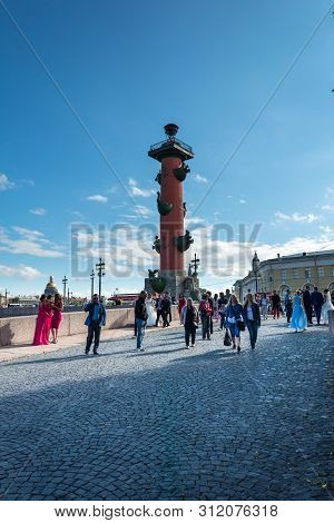 Rostral Column In Saint Petersburg, Russia