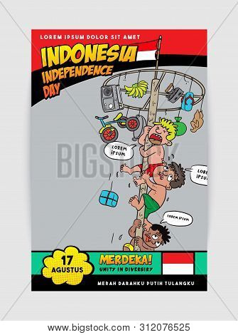 Poster Indonesia Independence Day Celebration, With The Greasy Pole Game Cartoon Illustration, Comic