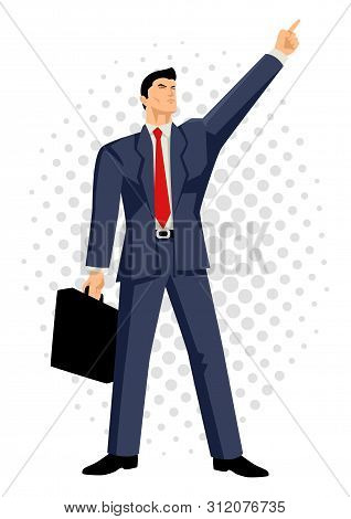 Cartoon Illustration Of A Businessman With Briefcase Pointing Up, Business, Confidence, Optimistic C