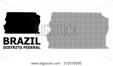 Halftone And Solid Map Of Brazil - Distrito Federal Composition Illustration. Vector Map Of Brazil -