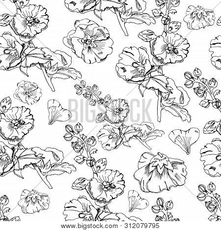 Seamless Pattern With  Bouquet And Single Flowers Of Mallow And Leaves. Hand Drawn Ink Sketch. Black