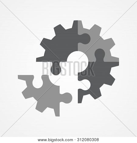 Illustration Of The Final Piece Of Puzzle Which Forming A Gear, Business, Complete, Completion, Solu