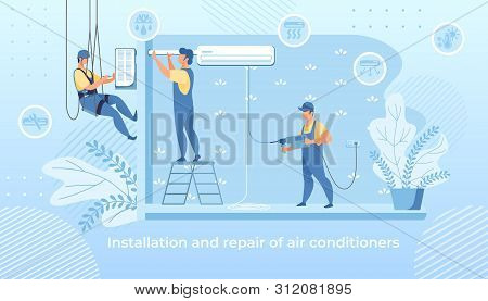 Handy Men Doing Installation And Repair Air Conditioner At Home, Husband For An Hour, Repair Service