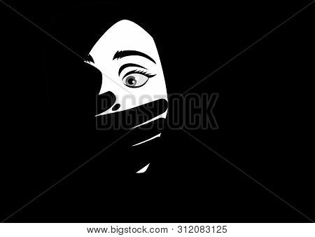 Black And White Illustration Of A Hand Covering Woman Mouth Concept For Kidnapping Or Domestic Viole
